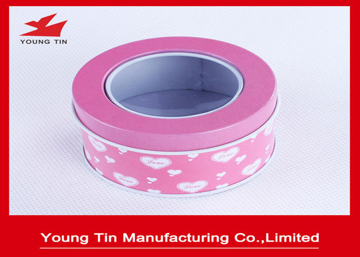 Small Metal Tinplate Plain Round Gift Tin Boxes Hinged Clear PVC Top Lids