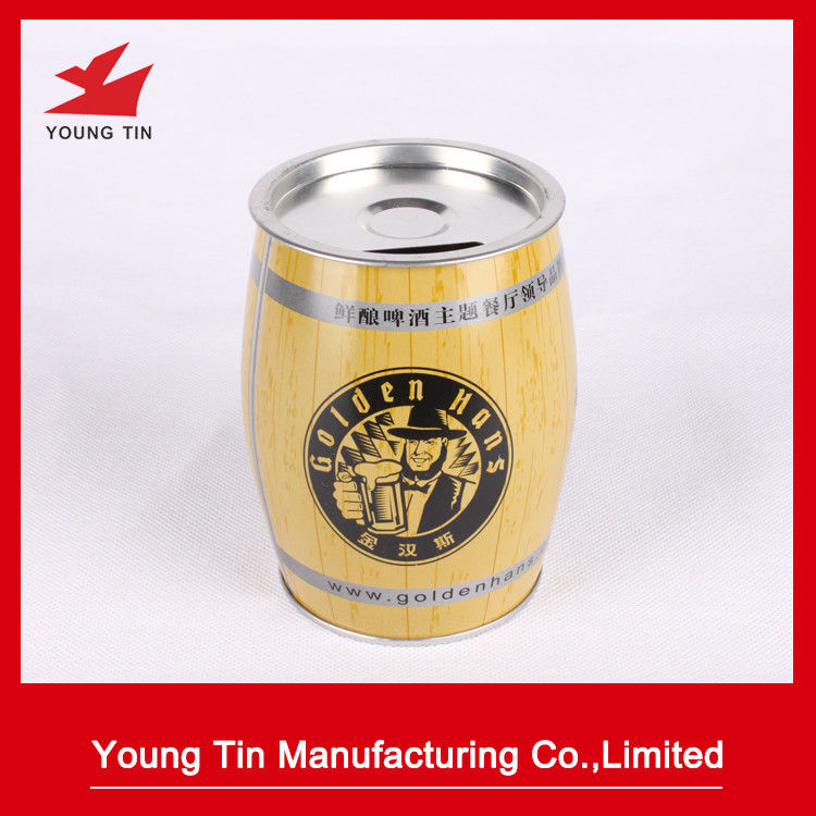 YT1230 Steel Tinplate Coin Bank Tin , CMYK Money Saving Tin With Removable Cap