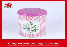 Round Metal Tea Tins CMYK Printed 0.23 MM Recyclable Tinplate With Pink Lid