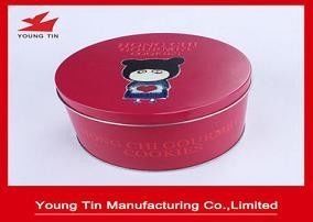 Red Aluminium Round 135 x 80 MM Cookie / Biscuits Gift Tins 0.23 MM Custom Printed